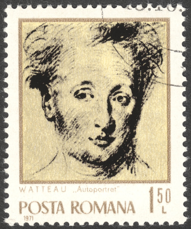 postmail: MOSCOW, RUSSIA - CIRCA FEBRUARY, 2016: a post stamp printed in ROMANIA shows self-portrait of Antoine Watteau, the series Artists, circa 1971 Editorial
