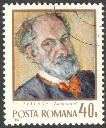 theodor: MOSCOW, RUSSIA - CIRCA FEBRUARY, 2016: a post stamp printed in ROMANIA shows self-portrait of Theodor Pallady, the series Artists, circa 1971