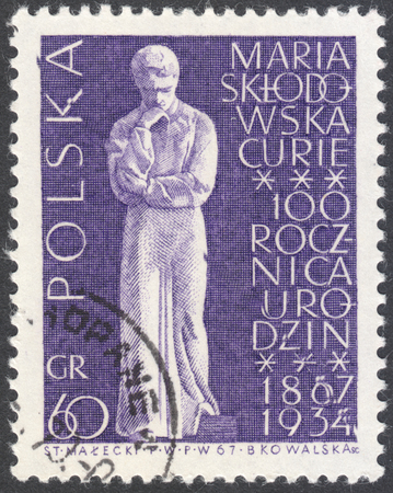descubridor: MOSCOW, RUSSIA - CIRCA JANUARY, 2016: a post stamp printed in POLAND shows Marie Sklodowska Curie statue, the series The 100th Anniversary of the Birth of Maria Sklodowska-Curie, circa 1967 Editorial
