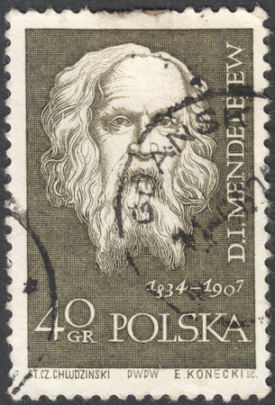 MOSCOW, RUSSIA - CIRCA JANUARY, 2016: a post stamp printed in POLAND shows a portrait of D. I. Mendeleev, the series Great Scientists, circa 1959