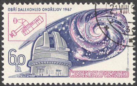 astronomic: MOSCOW, RUSSIA - JANUARY, 2016: a post stamp printed in CZECHOSLOVAKIA shows Ondrejov Observatory and Universe, devoted to the 13th International Astronomic Union Congress, Prague, circa 1967 Editorial
