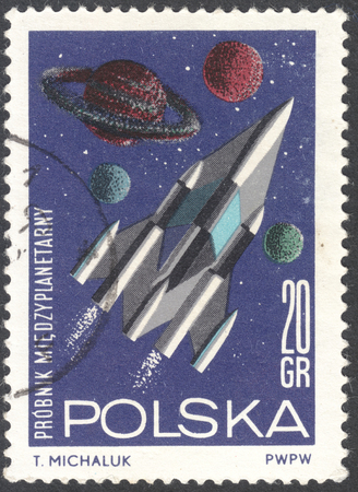 interplanetary: MOSCOW, RUSSIA - JANUARY, 2016: a post stamp printed in POLAND shows a future interplanetary spacecraft, the series Research in Space, circa 1964