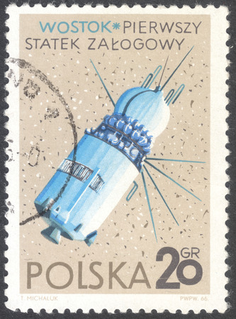 conquest: MOSCOW, RUSSIA - JANUARY, 2016: a post stamp printed in POLAND shows the Vostok spaceship, the series Conquest of Space, circa 1966