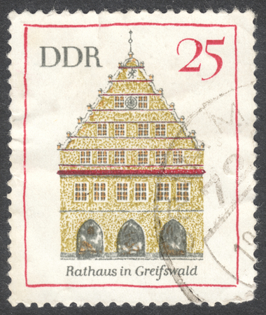 bundespost: MOSCOW, RUSSIA - JANUARY, 2016: a post stamp printed in DDR shows a traditional German architecture, the series Famous Buildings, circa 1969 Editorial