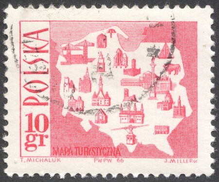 places of interest: MOSCOW, RUSSIA - CIRCA JANUARY, 2016: a post stamp printed in POLAND shows a map of places of interest, the series Tourism, circa 1966