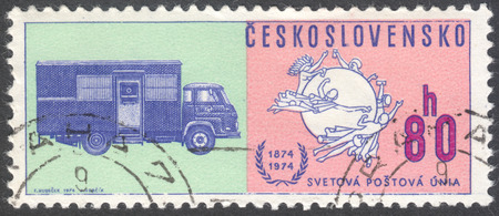upu: MOSCOW, RUSSIA - CIRCA JANUARY, 2016: a post stamp printed in CZECHOSLOVAKIA shows Postal Union Emblem & Early mail truck, the series The 100th Anniversary of the Universal Postal Union, circa 1974