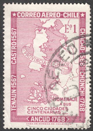 post stamp: MOSCOW, RUSSIA - JANUARY, 2016: a post stamp printed in CHILE shows a map of Chile, the series The 100th Anniversary of Five Towns, circa 1968
