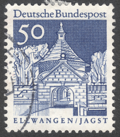 bundes: MOSCOW, RUSSIA - CIRCA JANUARY, 2016: a stamp printed in GERMANY shows Castle Gate, Ellwangen, the series Building Structures of the 12th Century, circa 1966 Editorial
