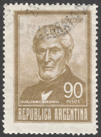 post stamp: MOSCOW, RUSSIA - JANUARY, 2016: a post stamp printed in ARGENTINA shows a portrait of Admiral Guillermo Brown, the series Personalities, circa 1967 Editorial
