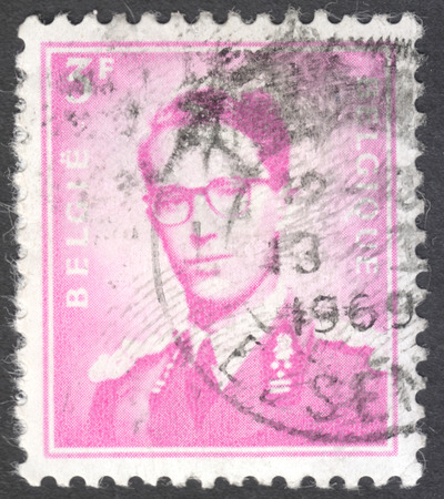 leopold: MOSCOW, RUSSIA -  CIRCA JANUARY, 2016: a post stamp printed in BELGIUM shows a portrait of King Baudouin, the series King Baudouin, circa 1969-1970