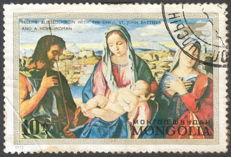 bellini: MOSCOW, RUSSIA - CIRCA JANUARY, 2016: post stamp printed in MONGOLIA shows Blessed Virgin with the child,St. John Batista and holy woman by Bellini, the series Save Venice - Paintings, circa 1972