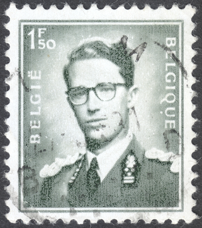baudouin: MOSCOW, RUSSIA -  CIRCA JANUARY, 2016: a post stamp printed in BELGIUM shows a portrait of King Baudouin, the series King Baudouin, circa 1969-1970
