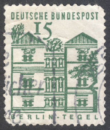 bundespost: MOSCOW, RUSSIA - JANUARY, 2016: a post stamp printed in GERMANY shows Tegel Castle, Berlin, the series German Building Structures of the 12th Century, circa 1964