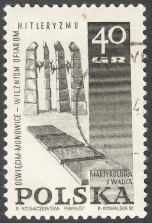 sacrifices: MOSCOW, RUSSIA - CIRCA JANUARY, 2016: a post stamp printed in POLAND shows a monument, the series Memorials for the Sacrifices of World War II, circa 1967