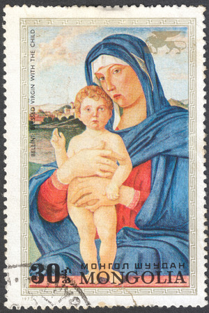 bellini: MOSCOW, RUSSIA - CIRCA JANUARY, 2016: a post stamp printed in MONGOLIA shows painting Blessed Virgin with the child by Bellini, the series Save Venice - Paintings, circa 1972
