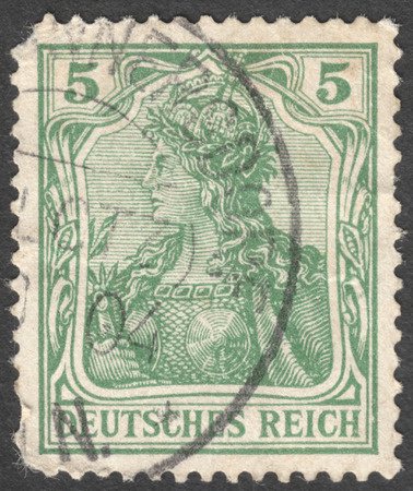 personification: MOSCOW, RUSSIA - JANUARY, 2016: a post stamp printed in GERMAN EMPIRE with the inscription DEUTSCHES REICH, circa 1902
