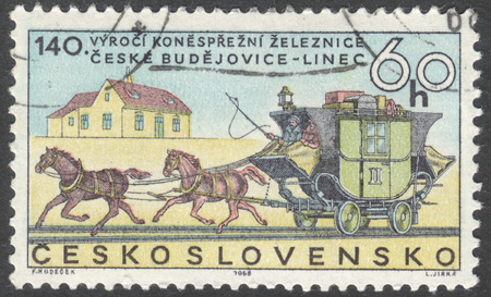coachman: MOSCOW, RUSSIA - JANUARY, 2016: a post stamp printed in CZECHOSLOVAKIA shows stagecoach on rails, the series The 100th Anniversary of the Ceske-Budejovice-Pilsen Railway, circa 1968 Editorial