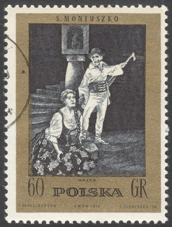 billet: MOSCOW, RUSSIA - CIRCA FEBRUARY, 2016: a post stamp printed in POLAND shows scene from On the billet ballet by S.Moniuszko, the series The 100th Anniversary of the death of S.Moniuszko, circa 1972 Editorial