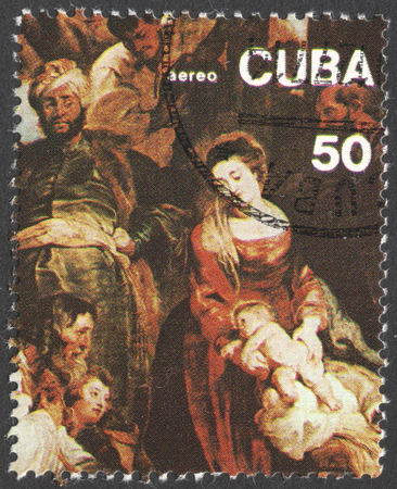 adoration: MOSCOW, RUSSIA - JANUARY, 2016: a post stamp printed in CUBA shows painting by Peter Paul Rubens Adoration of Magy, devoted to the 400th Anniversary of the Birth of Peter Paul Rubens, circa 1977