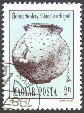 neolithic: MOSCOW, RUSSIA - CIRCA JANUARY, 2016: a post stamp printed in HUNGARY shows Urn, Neolithic and Copper Age Artefact, the series Archaeological Findings, circa 1987
