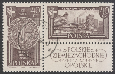 cement chimney: MOSCOW, RUSSIA - CIRCA JANUARY, 2016: a post stamp printed in POLAND shows Opole town and Cement works in Opole, the series Recovered Territories, circa 1961 Editorial