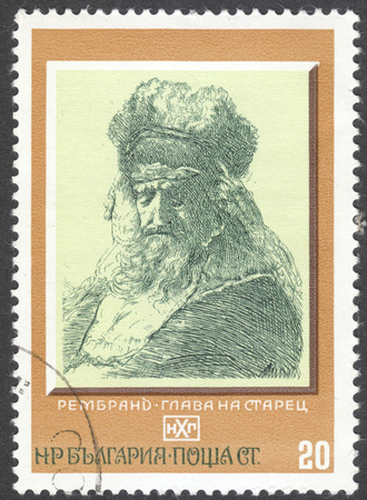 franked: MOSCOW, RUSSIA - JANUARY, 2016: a post stamp printed in BULGARIA shows painting Old Man with a Fur Cap and Flowing Beard by Rembrandt, the series Paintings, circa 1975 Editorial