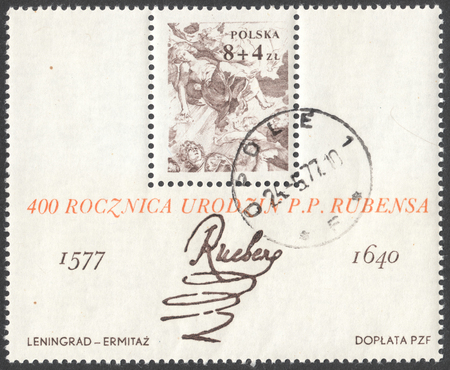 postmail: MOSCOW, RUSSIA - CIRCA JANUARY, 2016: a post stamp printed in POLAND shows a signature of artist Peter Paul Rubens, devoted to the 400th Anniversary of the Birth of Peter Paul Rubens, circa 1977