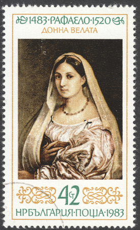 adress: MOSCOW, RUSSIA - JANUARY, 2016: a post stamp printed in BULGARIA shows painting La donna velata by Raphael, the series The 500th Anniversary of the Birth of Raphael, circa 1983