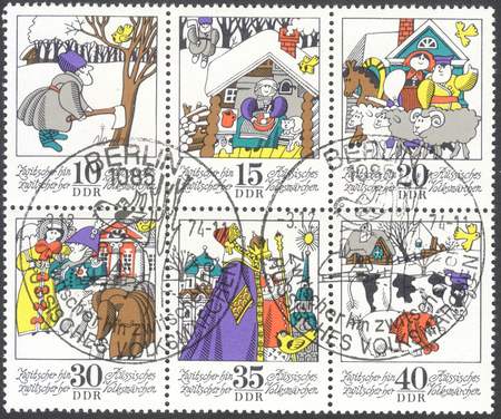 folk tales: MOSCOW, RUSSIA - CIRCA FEBRUARY, 2016: a post stamp printed in DDR shows the series of images Russian Folktales, circa 1974
