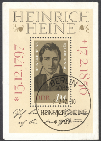 heinrich: MOSCOW, RUSSIA - CIRCA JANUARY, 2016: a post stamp printed in DDR shows a portrait of Heinrich Heine, devoted to the 175th Anniversary of the Birth of Heinrich Heine, circa 1972