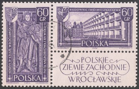 housebuilding: MOSCOW, RUSSIA - CIRCA JANUARY, 2016: a post stamp printed in POLAND shows Tombstone of Duke Henry IV Probus in Wrocław and housebuilding in Wrocław, the series Recovered Territories, circa 1961