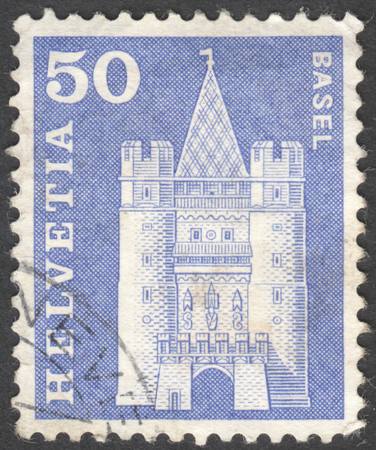 definitive: MOSCOW, RUSSIA - CIRCA JANUARY, 2016: a post stamp printed in SWITZERLAND shows Spalentor gate, Basel, the series Definitive Issues, circa 1960