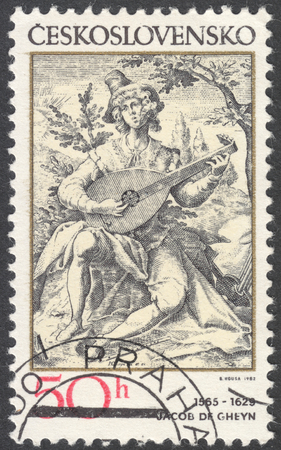 sanguine: MOSCOW, RUSSIA - CIRCA FEBRUARY, 2016: a post stamp printed in CZECHOSLOVAKIA shows painting The Sanguine Man by Jacob de Gheyn, the series Engravings with a Music Theme, circa 1982