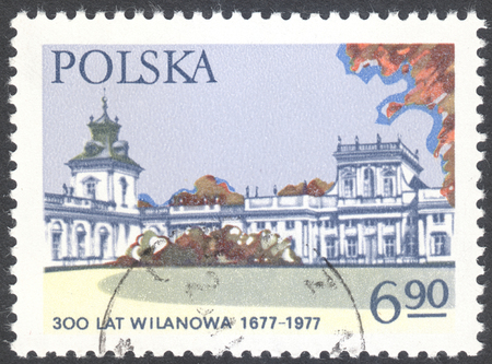 wilanow: MOSCOW, RUSSIA - CIRCA FEBRUARY, 2016: a post stamp printed in POLAND shows Wilanow palace in Warsaw, the series Historic monuments, circa 1977 Editorial