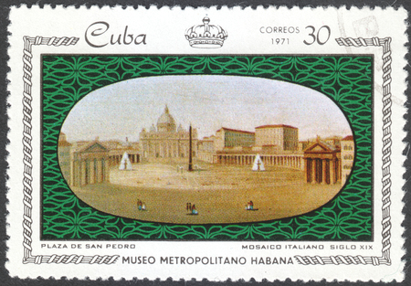 MOSCOW, RUSSIA - CIRCA FEBRUARY, 2016: a post stamp printed in CUBA shows Plaza de San Pedro, the series Porcelain and Mosaics in Metropolitan Museum, Havana, circa 1971