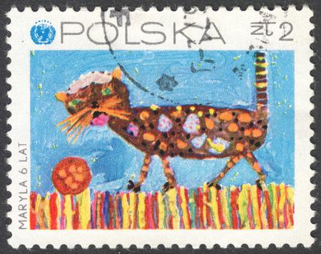 """unicef: MOSCA, RUSSIA - intorno al febbraio 2016: un francobollo stampato in Polonia mostra disegni dei bambini, della serie """"Il 25 ° anniversario dell'UNICEF (Fondo di emergenza delle Nazioni Unite)"""", circa 1971 Editoriali"""