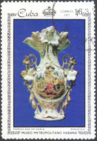 philatelist: MOSCOW, RUSSIA - CIRCA FEBRUARY, 2016: a post stamp printed in CUBA shows treasures of the Metropolitan Museum of Havana, the series Porcelain and Mosaics in Metropolitan Museum, Havana, circa 1971