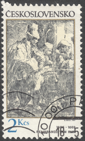 rembrandt: MOSCOW, RUSSIA - CIRCA FEBRUARY, 2016: a post stamp printed in CZECHOSLOVAKIA shows painting Wandering Musicians by Rembrandt, the series Engravings with a Music Theme, circa 1982 Editorial