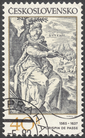 passe: MOSCOW, RUSSIA - CIRCA FEBRUARY, 2016: a post stamp printed in CZECHOSLOVAKIA shows painting Euterpe by Crispin de Passe, the series Engravings with a Music Theme, circa 1982