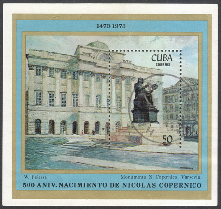 copernicus: MOSCOW, RUSSIA - CIRCA FEBRUARY, 2016: a post stamp printed in CUBA shows a monument to Nicolaus Copernicus, devoted to the 500th Anniversary of the Birth of Copernicus, circa 1973