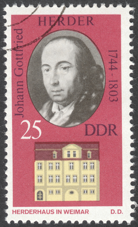national poet: MOSCOW, RUSSIA - CIRCA FEBRUARY, 2016: a post stamp printed in DDR shows a portrait of Johann Gottfried Herder, the series Personalities and Their Homes in Weimar, circa 1973