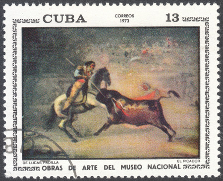 postmail: MOSCOW, RUSSIA - CIRCA FEBRUARY, 2016: a post stamp printed in CUBA shows painting Picador by Lucas Padila, the series National Museum Paintings, circa 1973