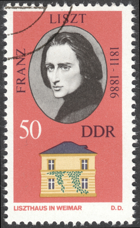 liszt: MOSCOW, RUSSIA - CIRCA FEBRUARY, 2016: a post stamp printed in DDR shows a portrait of Franz Liszt, the series Personalities and Their Homes in Weimar, circa 1973 Editorial