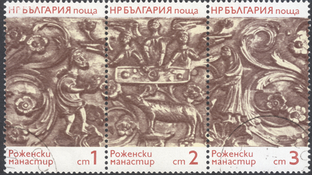 old testament: MOSCOW, RUSSIA - CIRCA FEBRUARY, 2016: a post stamp printed in BULGARIA shows scenes from the Old Testament of the monastery Rozhen, the series Folk Art, circa 1974
