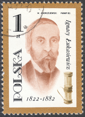 postage stamps: MOSCOW, RUSSIA - CIRCA FEBRUARY, 2016: a post stamp printed in POLAND shows a potrait of Ignacy Lukasiewicz, the series The 100th Anniversary of the Death of Ignacy Lukasiewicz, circa 1982