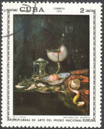 postmail: MOSCOW, RUSSIA - CIRCA FEBRUARY, 2016: a post stamp printed in CUBA shows painting Still life by W.C.Heda, the series National Museum Paintings, circa 1973