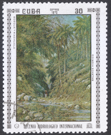 hydrological: MOSCOW, RUSSIA - CIRCA FEBRUARY, 2016: a post stamp printed in CUBA shows painting Forest and creek by B. Hidrico, the series International Hydrological Decade, circa 1972 Editorial