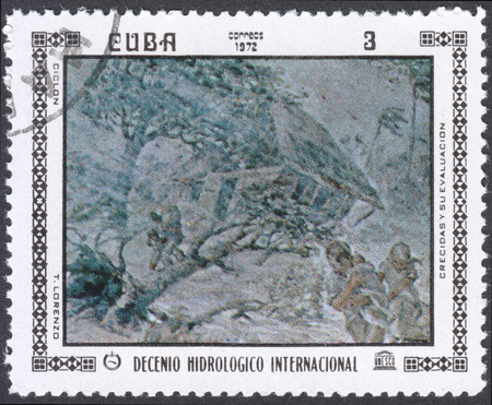 decade: MOSCOW, RUSSIA - CIRCA FEBRUARY, 2016: a post stamp printed in CUBA shows painting by T. Lorenzo, the series International Hydrological Decade, circa 1972