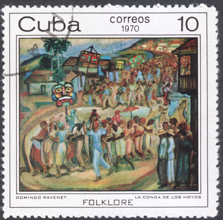 communists: MOSCOW, RUSSIA - CIRCA FEBRUARY, 2016: a post stamp printed in CUBA shows painting Conga dance in Los Hoyos by Domingo Ravenet, the series The Afro-Cuban Folklore Paintings, circa 1970 Editorial