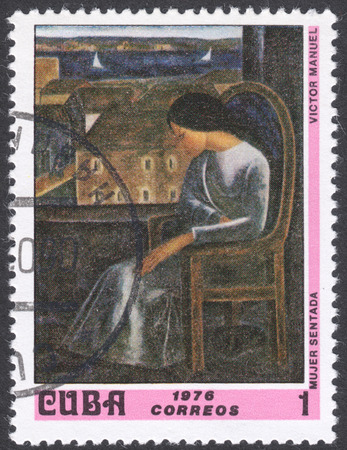 manuel: MOSCOW, RUSSIA - CIRCA FEBRUARY, 2016: a post stamp printed in CUBA shows painting Seated Woman by Victor Manuel, the series National Museum Paintings, circa 1976